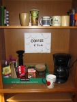 Author Ashley Crookham coffee station
