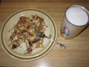 NaNoWriMo breakfast: chocolate croissant frittata